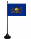 Pennsylvania Desk / Table Flag with plastic stand and base.